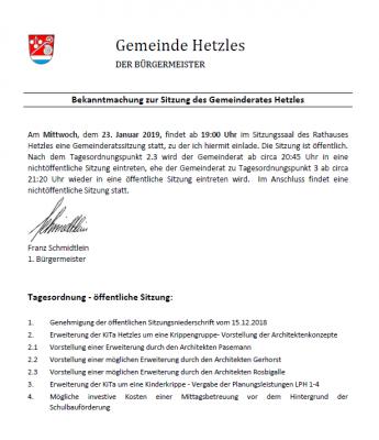 Foto zur Meldung: Gemeinderatssitzung in Hetzles am 23.01.2019