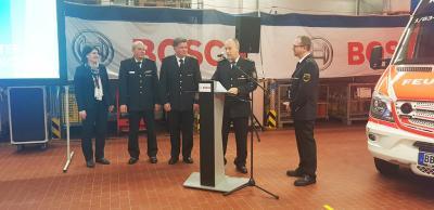 Einsetzung des neuen Werkfeuerwehrkommandanten Matthias Kuntz