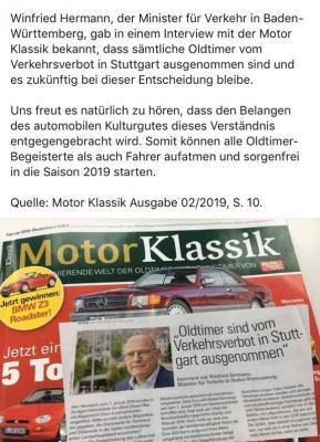 Interview mit Winfried Hermann in der Motor Klassik
