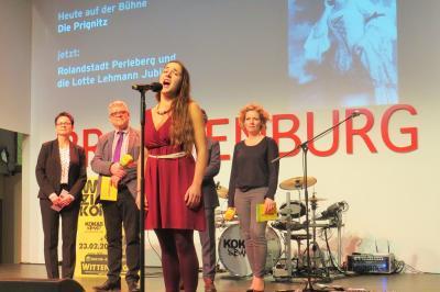 Stadt Perleberg | Miriam Mysterfeld präsentiert auf der Grünen Woche 2018 die Veranstaltungsreihe Lotte Lehmann