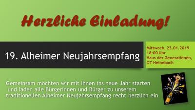 Vorschaubild zur Meldung: 19. Neujahrsempfang der Gemeinde Alheim