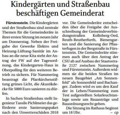 Vorschaubild zur Meldung: Kindergärten und Straßenbau beschäftigt Gemeinderat