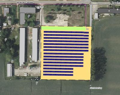 Die Luftaufnahme zeigt, wo die PV-Fläche angelegt werden soll. Zur Dorfstraße hin könnte das Gelände als Freizeitfläche gestaltet werden. Quelle: Voltgrün