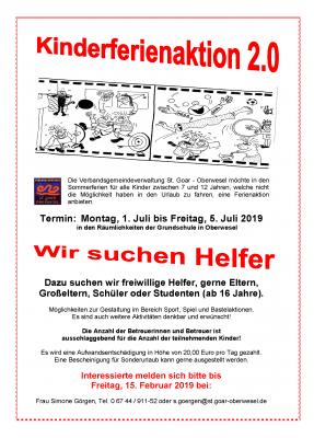 Vorschaubild zur Meldung: Helferinnen und Helfer für die Kinderferienaktion der Verbandsgemeinde gesucht