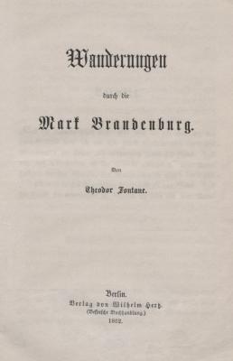 freigegebenes Bildmotiv vom Stadt- und Regionalmuseum | Titelseite von Fontanes Wanderungen durch die Mark Brandenburg, 1862