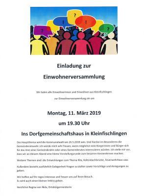 Vorschaubild zur Meldung: Einwohnerversammlung am 11. März 2019