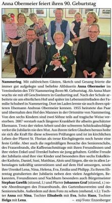 Vorschaubild zur Meldung: Anna Obermeier feiert ihren 90. Geburtstag