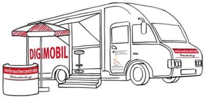 Innovation für den ländlichen Raum: Mit dem Digimobil hält die Verbraucherzentrale ab Februar 2019 auch in Falkensee und bietet Vor-Ort-Beratung per Videochat an (Bildquelle: Verbraucherzentrale Brandenburg, Zeichnung: Henrike Ott)
