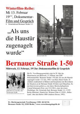"""Vorschaubild zur Meldung: 2. Film-Abend im Winter: """"Die Bernauer Straße"""" oder """"Als uns die Haustür zugenagelt wurde"""""""