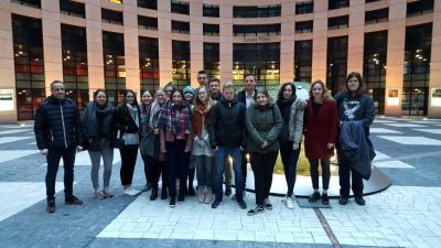 Foto zur Meldung: Die Preisträger des Sophie-Hedwig-Gymnasiums diskutieren im EU-Parlament