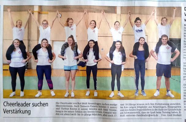 Foto zur Meldung: Abteilung Cheerleading: Titelseite der MOZ