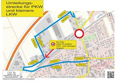 Vorschaubild zur Meldung: Umleitungsmöglichkeiten - Baustelle Bahnunterführung Wallersdorf