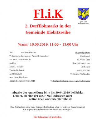 Foto zur Meldung: Fl.i.K. 2. Dorfflohmarkt am 16.Juni 2019 in Kiebitzreihe
