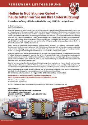 Vorschaubild zur Meldung: Feuerwehr Lettgenbrunn startet Spendenaktion für weitere Beladung des bestellten Mittleren Löschfahrzeugs (MLF)