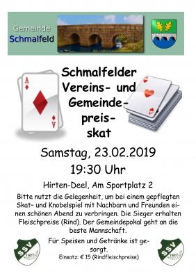 Foto zur Meldung: Ergebnisse des Schmalfelder Gemeinde- und Vereinspreisskat 2019