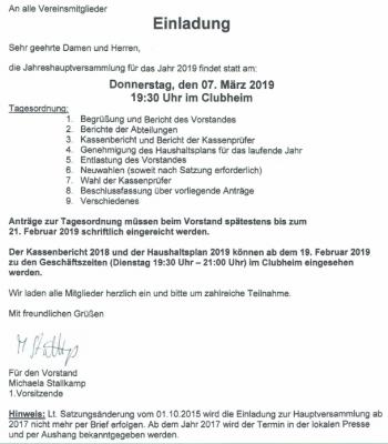 Foto zur Meldung: Einladung zur Jahreshauptversammlung