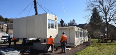Foto zur Meldung: Nach Rohrbruch und Provisorium: Kita Oberneisen zieht in Container um