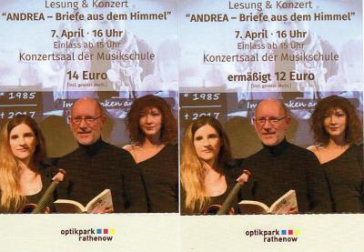 Foto zur Meldung: Kartenverkauf für die Lesung und das Konzert im Optikpark