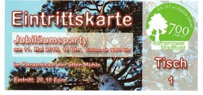 Foto zur Meldung: Kartenverkauf für die Festveranstaltung 700 Jahre Stadtwald Rathenow