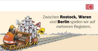 Foto zu Meldung: Zugausfälle und Umleitungen April-September 2019 zwischen Rostock, Waren und Berlin
