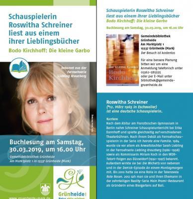 Foto zu Meldung: Lesung in der Gemeindebibliothek: Schauspielerin Roswitha Schreiner liest aus einem ihrer Lieblingsbücher