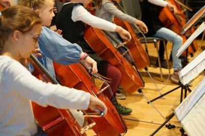 Violoncelloensemble beim Auftritt.