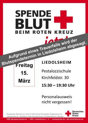 Vorschaubild zur Meldung: Aufgrund eines Trauerfalls wird die Blutspendeaktion am 15. März abgesagt.