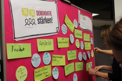 """Das Bild zeigt Teilnehmerinnen beim Sammeln von Begriffen für eine Wortwolke, die als Grundlage für das erste Plakat der Aktion """"Projekt 70 30 – Demokratie stärken!"""" dienen soll."""