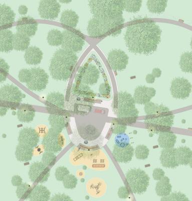 Ausschnitt des Entwurfsplans Detailbereich Zentrum (Clara-Zetkin-Park) Quelle: Schrickel & Partner - Landschaftsarchitektur