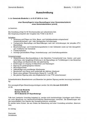 Vorschaubild zur Meldung: Anstellung einer Baumpflegerin/ eines Baumpflegers/ einer Gemeindearbeiterin/ eines Gemeindearbeiters