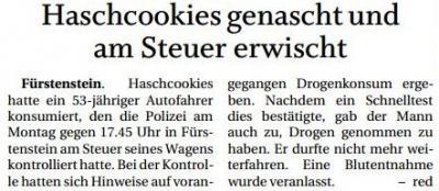 Vorschaubild zur Meldung: Haschcookies genascht und am Steuer erwischt
