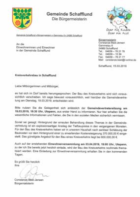 Foto zur Meldung: Einwohnerbrief zumThema Kreisverkehr
