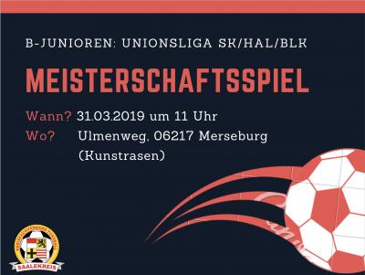 Foto zur Meldung: Meisterschaftsspiel der Unionsliga SK/HAL/BLK der B-Junioren
