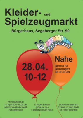 Vorschaubild zur Meldung: 28.04.19 von 10-12 Uhr: Kleider- und Spielzeugmarkt in Nahe - Einlass für Schwangere ab 09:30 Uhr!