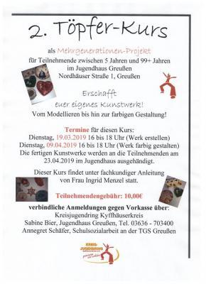 Foto zur Meldung: Töpferkurs im Jugendhaus Greußen
