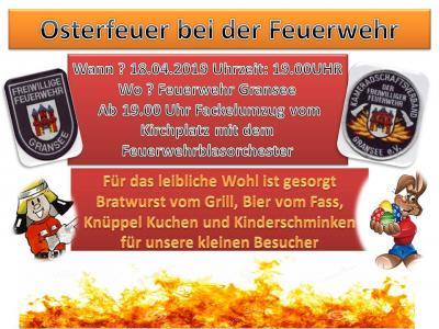 Foto zur Meldung: Osterfeuer bei der Feuerwehr Gransee