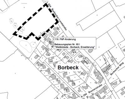 """119. FNP-Änderung Bebauungsplan Nr. 65 I """"Wiefelstede-Borbeck, Erweiterung"""