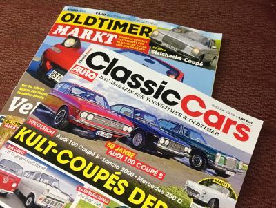 Aktuelle Oldtimer Magazine mit Titelstories zum W114 Coupé