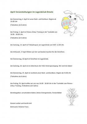 Vorschaubild zur Meldung: April- Veranstaltungen im Jugendclub Dreetz