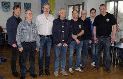 vlnr.: Dirk Jaeger, Harald Mally, Jürgen Ebering, Rüdiger Bock, Mark Brehme, Ulli Hauter, Marcell Camacho, Michael Bogowsky (Foto: Nordmann-Fotografie)