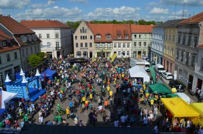 Stadt Perleberg, 2017 | Ausblick vom Rathaus aufs Radlerfeld