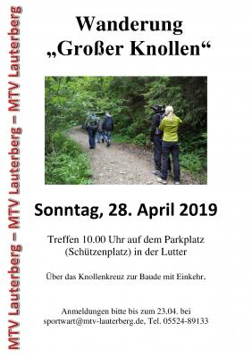 Vorschaubild zur Meldung: Wanderung für Alle zum Großen Knollen am 28.04.19