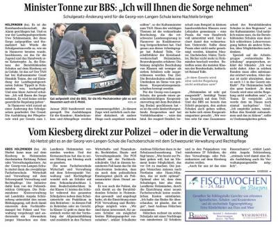 Vorschaubild zur Meldung: Minister Tonne nimmt der BBS eine Sorge!