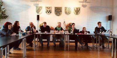 Der Vorstand des Fördervereins Freizeitbad Grasleben e.V. während der Jahreshauptversammlung im Rathaus Grasleben.