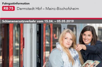 Foto zur Meldung: Schienenersatzverkehr zwischen Darmstadt und Bischofsheim vom 14.04-05.05.2019