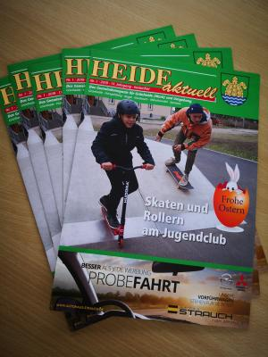 Foto zur Meldung: Gemeindezeitschrift HEIDE Aktuell im Rathaus Grünheide (Mark) erhältlich