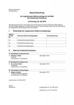 Foto zur Meldung: Bekanntmachung der zugelassenen Wahlvorschläge für die Wahl des Ortsbeirates Kostebrau am Sonntag, 26. Mai 2019
