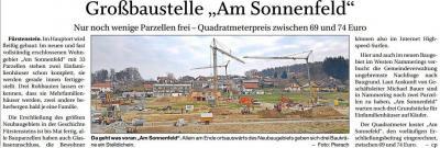 """Vorschaubild zur Meldung: Großbaustelle """"Am Sonnenfeld"""