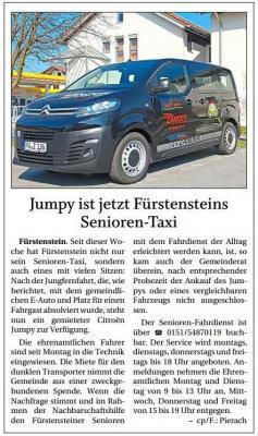 Vorschaubild zur Meldung: Jumpy ist jetzt Fürstensteins Senioren-Taxi