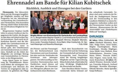Vorschaubild zur Meldung: Ehrennadel am Bande für Kilian Kubitschek
